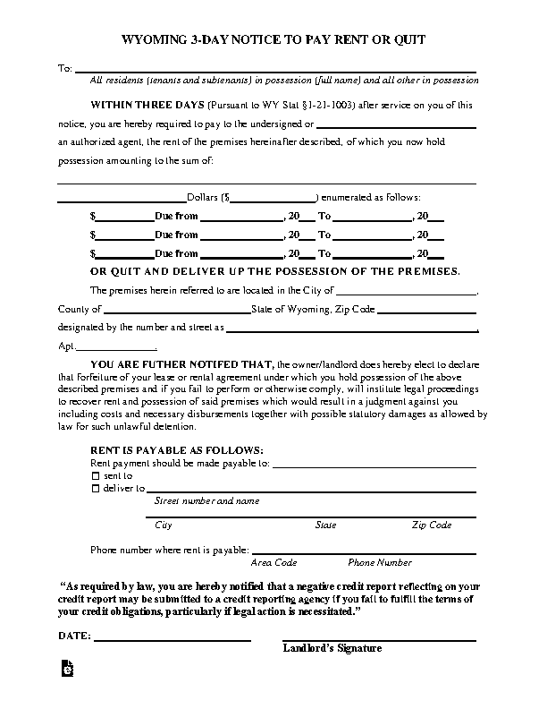 Wyoming 3 Day Notice To Quit Form