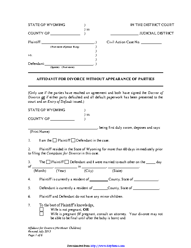 Wyoming Affidavit For Divorce Without Appearance Of Parties No Children Form