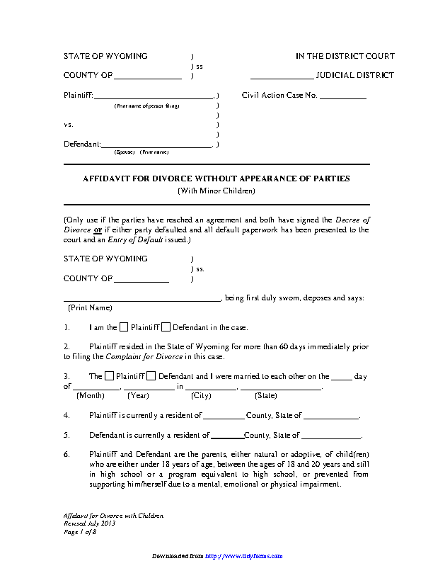 Wyoming Affidavit For Divorce Without Appearance Of Parties With Minor Children Form