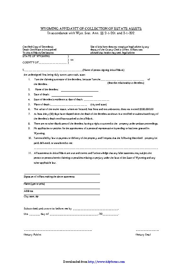 Wyoming Affidavit Of Collection Of Estate Assets Form