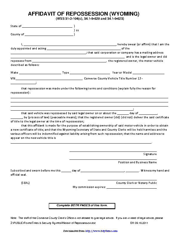 Wyoming Affidavit Of Repossession Form