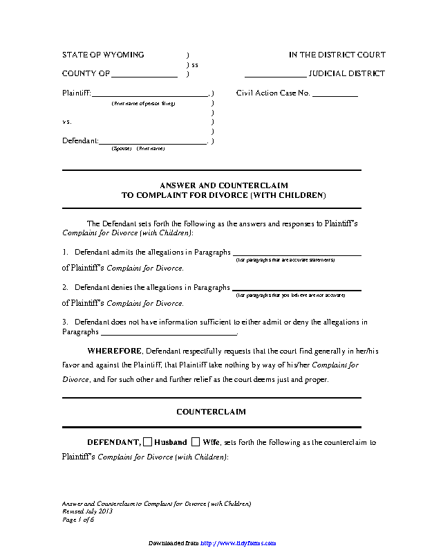 Wyoming Answer And Counterclaim To Complaint For Divorce With Children Form