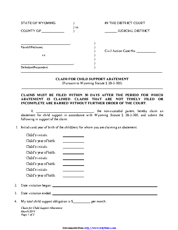 Wyoming Claim For Child Support Abatement Form