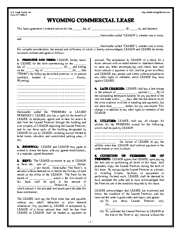 Wyoming Commercial Lease Form