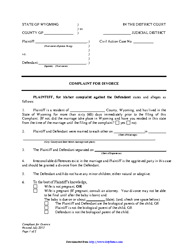 Wyoming Complaint For Divorce No Children Form