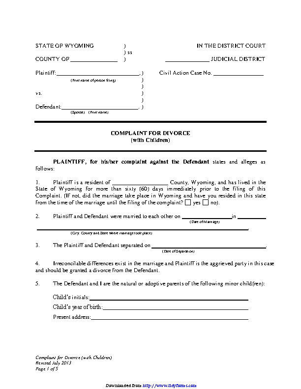 Wyoming Complaint For Divorce With Children Form