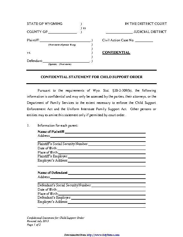 Wyoming Confidential Statement For Child Support Order Form