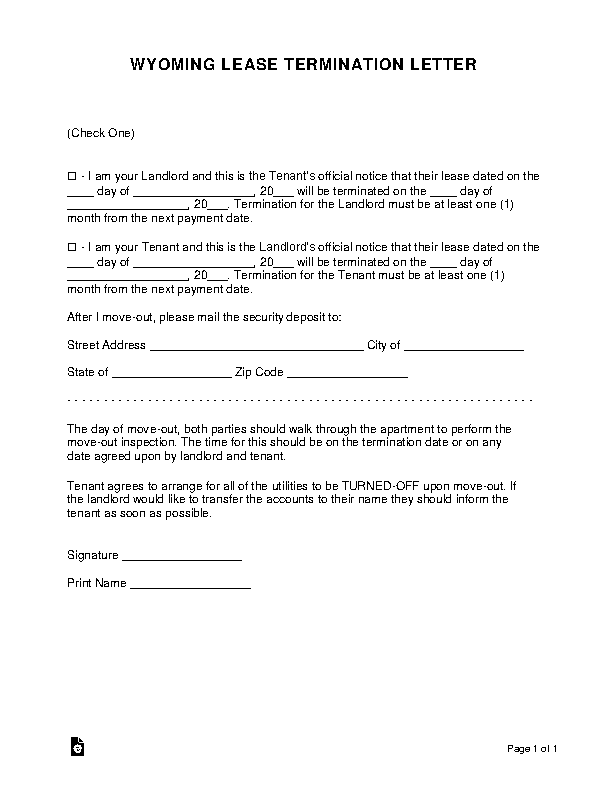 Wyoming Lease Termination Letter Form