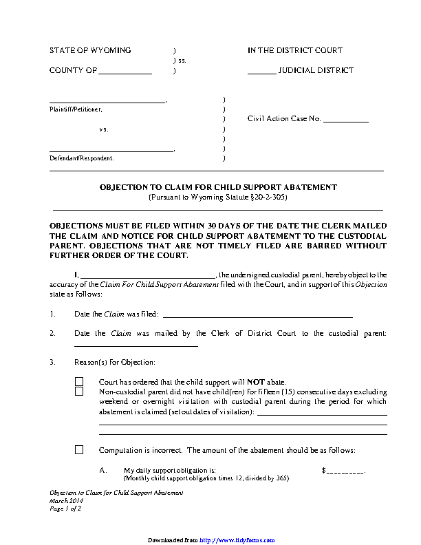 Wyoming Objection To Claim For Child Support Abatement Form