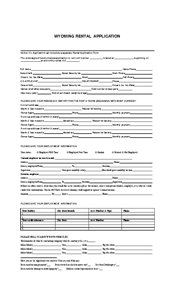 Wyoming Rental Application Form