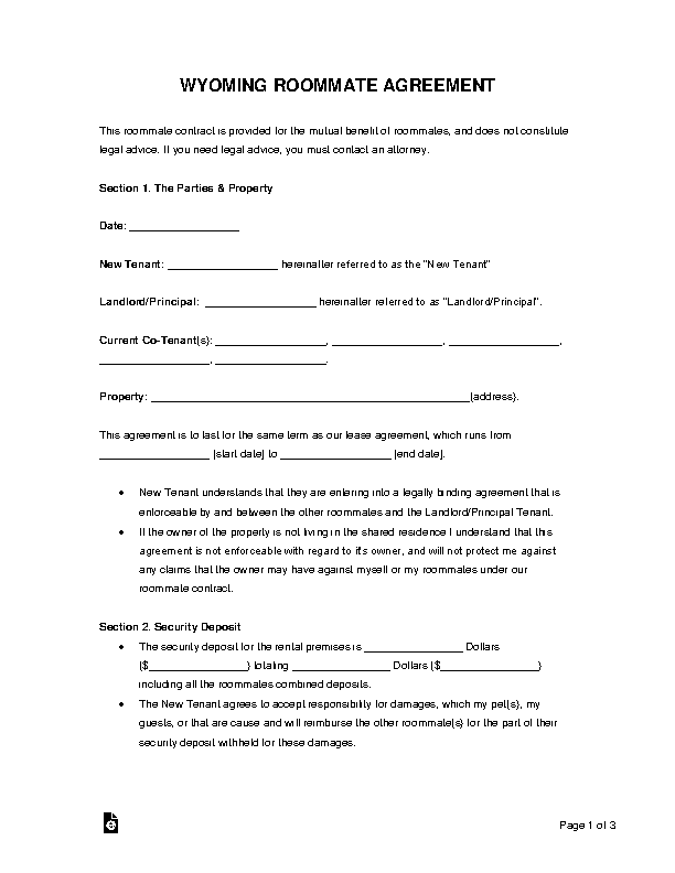 Wyoming Roommate Agreement Form