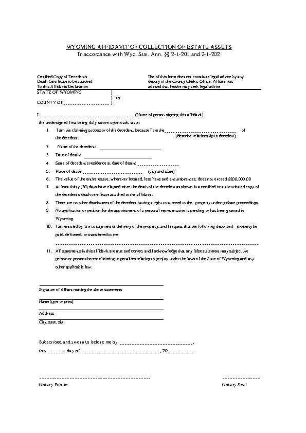 Wyoming Small Estate Affidavit Form