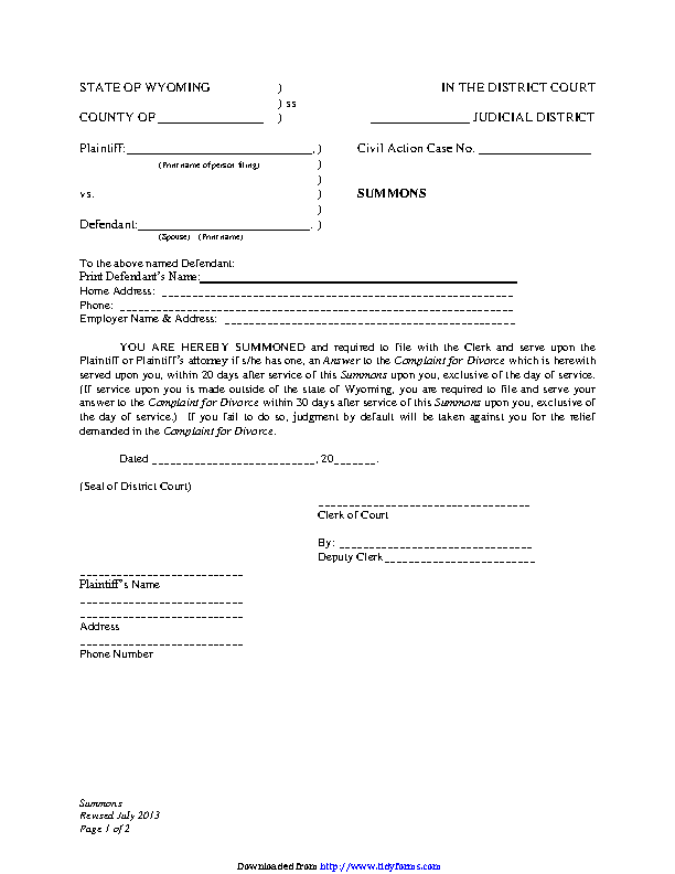 Wyoming Summons With Children Form