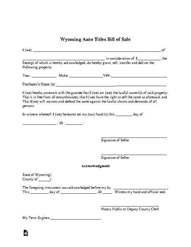 Wyoming Vehicle Bill Of Sale
