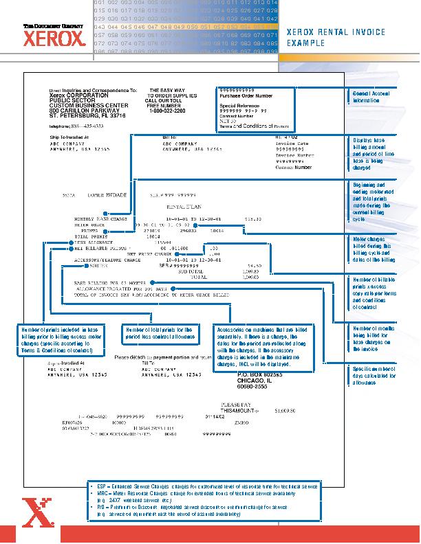 Xerox Rental Invoice Template Example