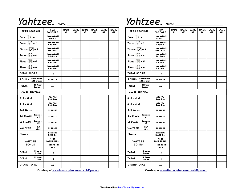 graphic relating to Printable Yahtzee Score Sheets 2 Per Page titled Yahtzee Ranking Sheets - PDFSimpli