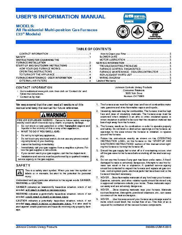 York Owners Manual Sample