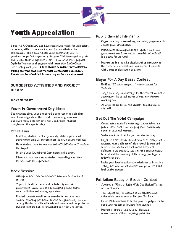 Youth Athletics Appreciation