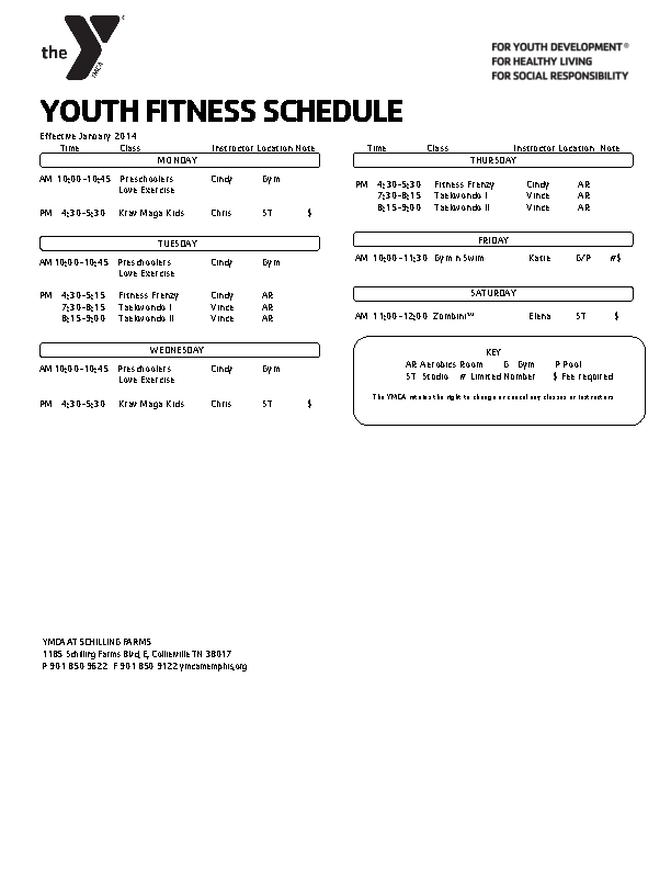 Youth Fitness Schedule Template