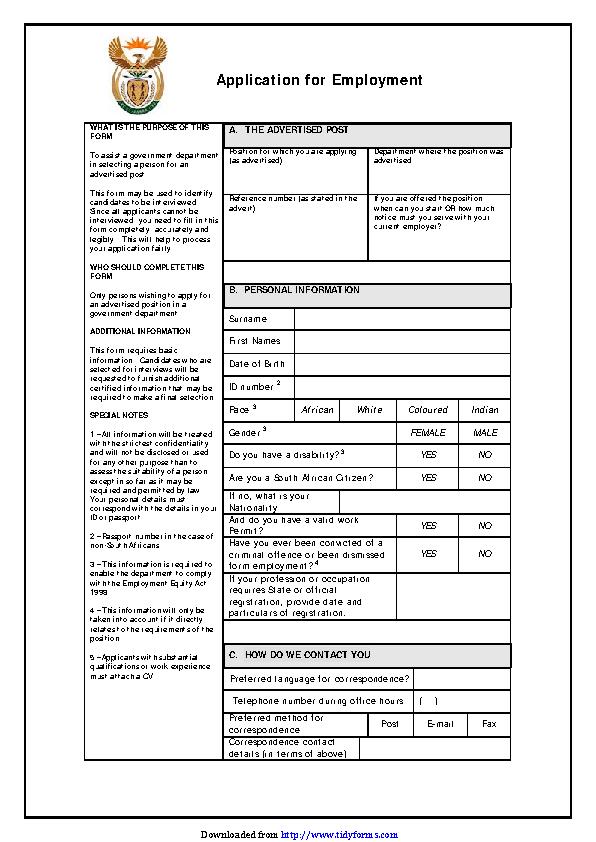 Z83 Form Download