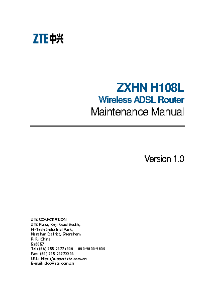 Zte Maintenance Manual Sample